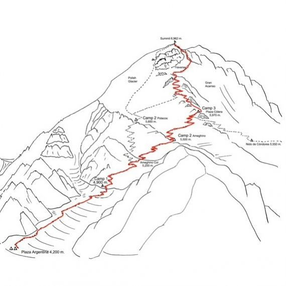 Ojos de Salado & Aconcagua with Porters Map